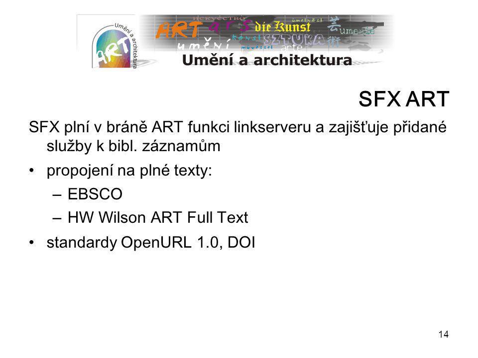 SFX ART SFX plní v bráně ART funkci linkserveru a zajišťuje přidané služby k bibl. záznamům. propojení na plné texty: