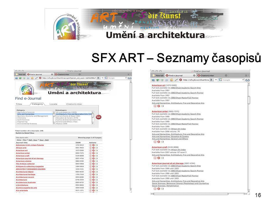 SFX ART – Seznamy časopisů