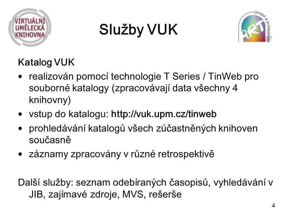 Služby VUK Katalog VUK. realizován pomocí technologie T Series / TinWeb pro souborné katalogy (zpracovávají data všechny 4 knihovny)