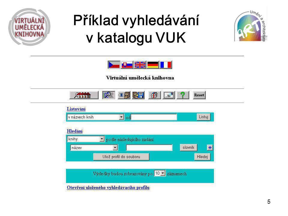 Příklad vyhledávání v katalogu VUK