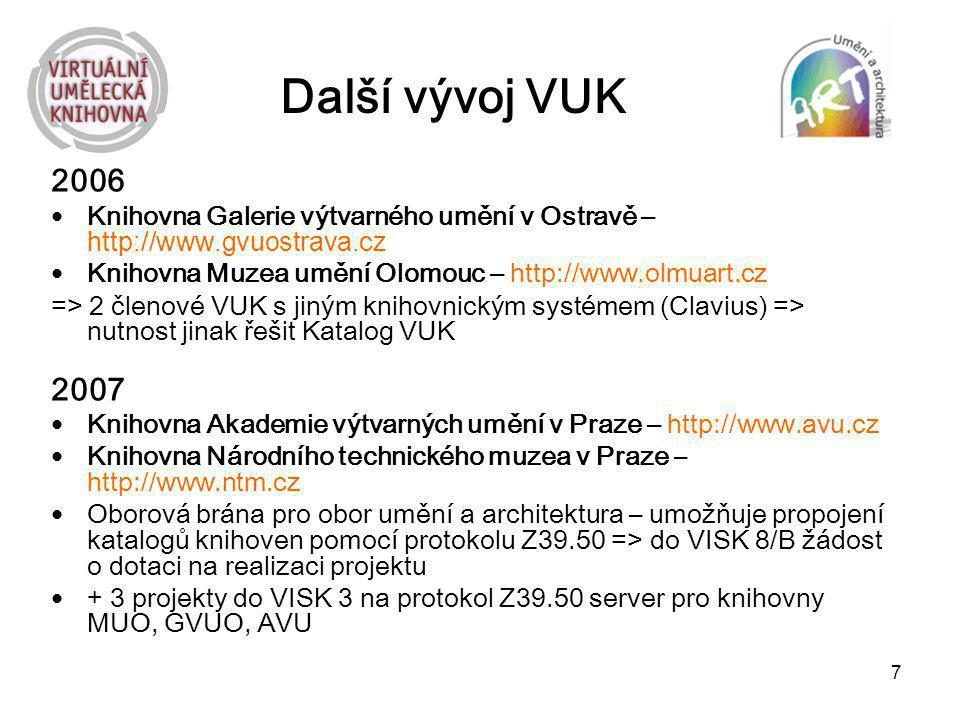 Další vývoj VUK 2006. Knihovna Galerie výtvarného umění v Ostravě – http://www.gvuostrava.cz. Knihovna Muzea umění Olomouc – http://www.olmuart.cz.