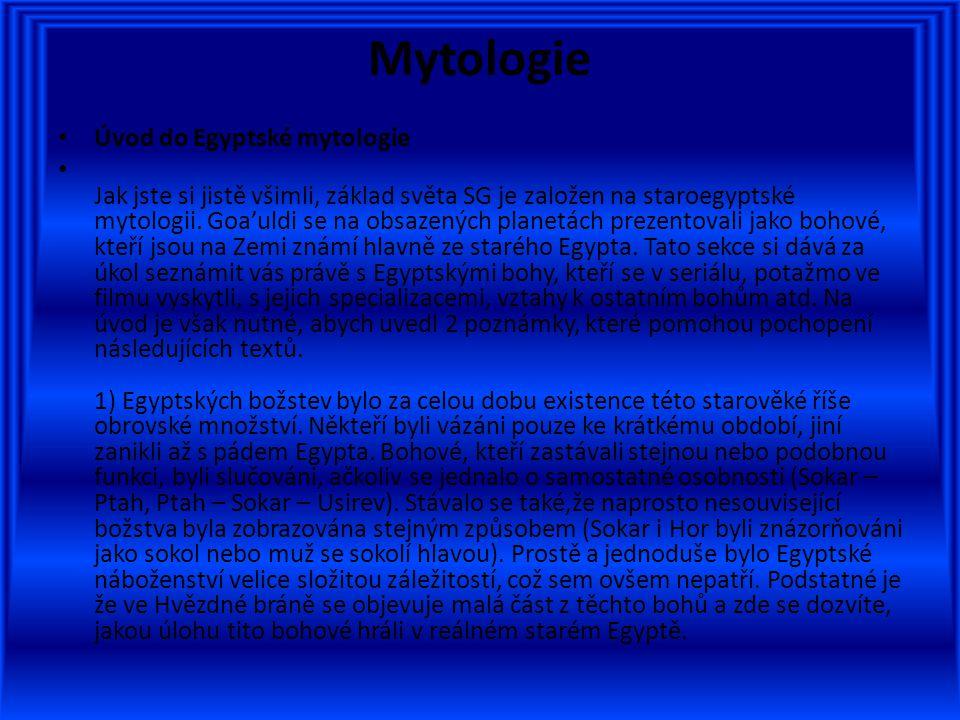 Mytologie Úvod do Egyptské mytologie