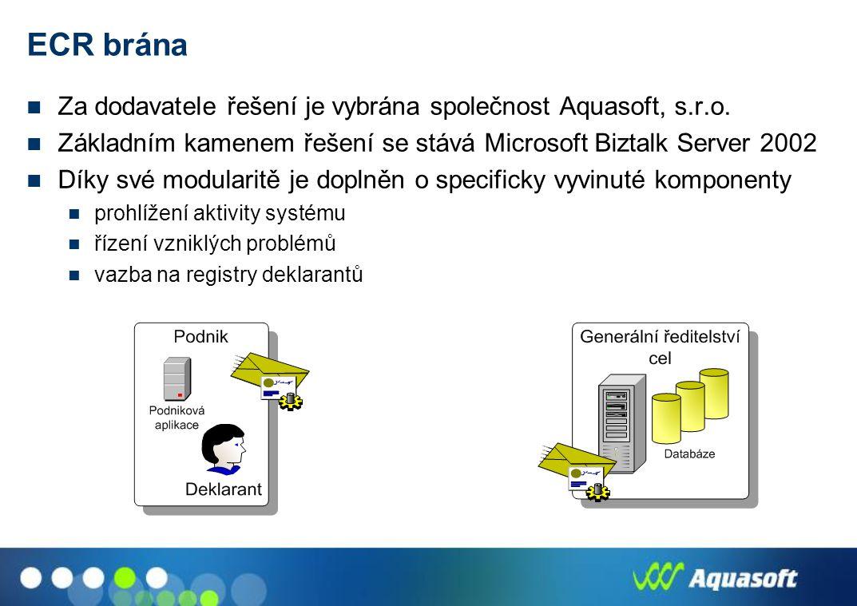 ECR brána Za dodavatele řešení je vybrána společnost Aquasoft, s.r.o.