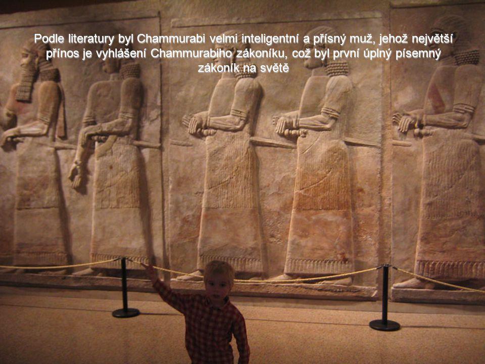 Podle literatury byl Chammurabi velmi inteligentní a přísný muž, jehož největší přínos je vyhlášení Chammurabiho zákoníku, což byl první úplný písemný zákoník na světě