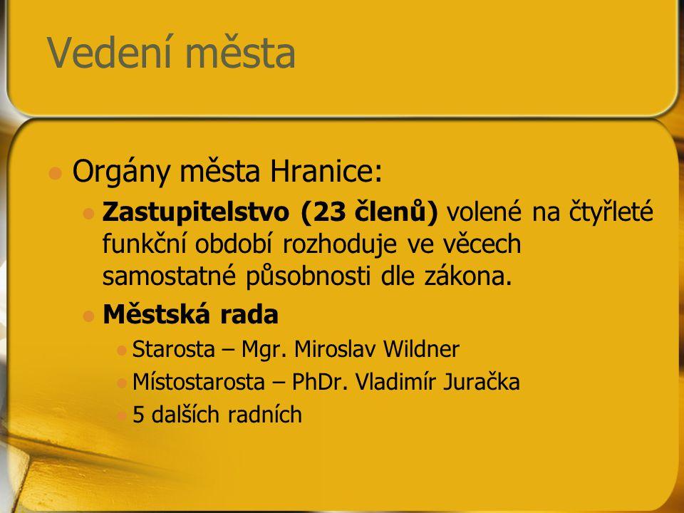 Vedení města Orgány města Hranice: