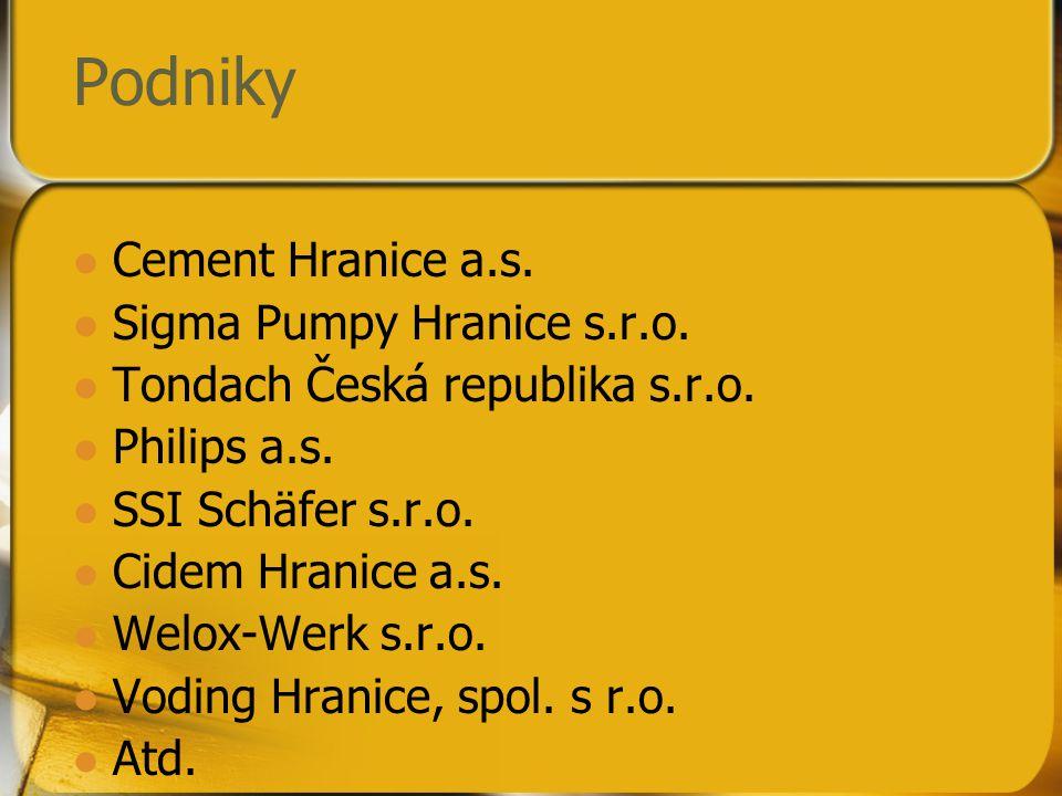Podniky Cement Hranice a.s. Sigma Pumpy Hranice s.r.o.