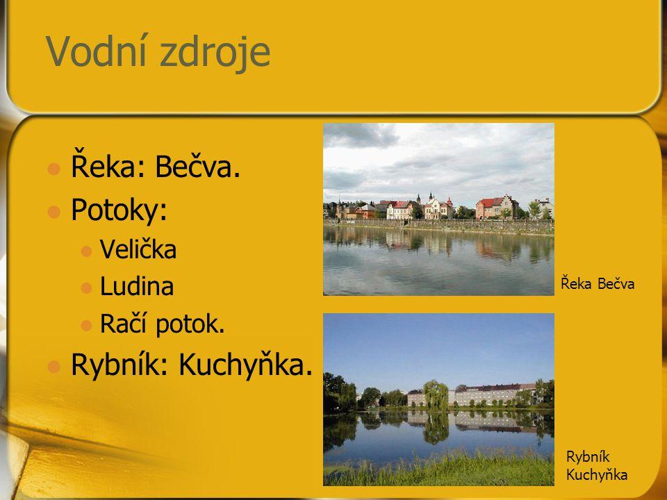 Vodní zdroje Řeka: Bečva. Potoky: Rybník: Kuchyňka. Velička Ludina