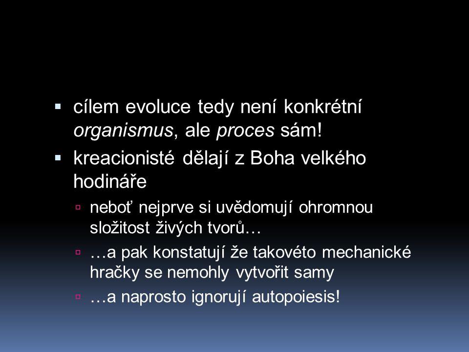 cílem evoluce tedy není konkrétní organismus, ale proces sám!