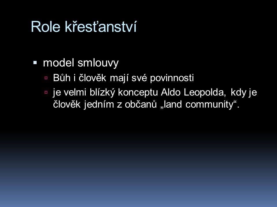 Role křesťanství model smlouvy Bůh i člověk mají své povinnosti
