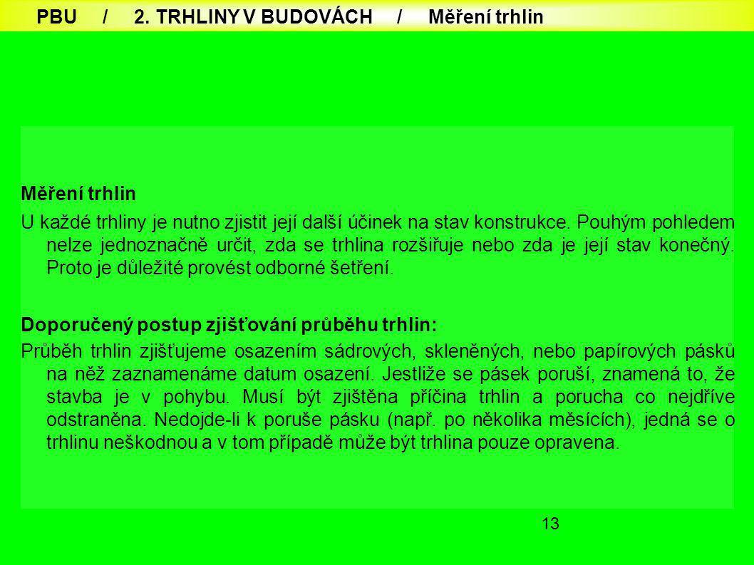 PBU / 2. TRHLINY V BUDOVÁCH / Měření trhlin