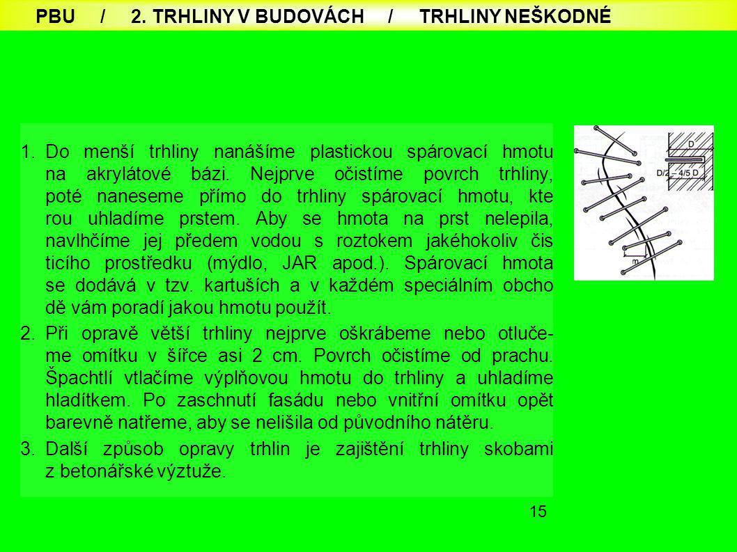 PBU / 2. TRHLINY V BUDOVÁCH / TRHLINY NEŠKODNÉ