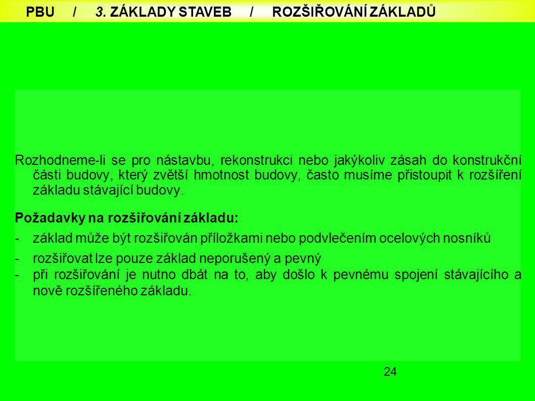 PBU / 3. ZÁKLADY STAVEB / ROZŠIŘOVÁNÍ ZÁKLADŮ