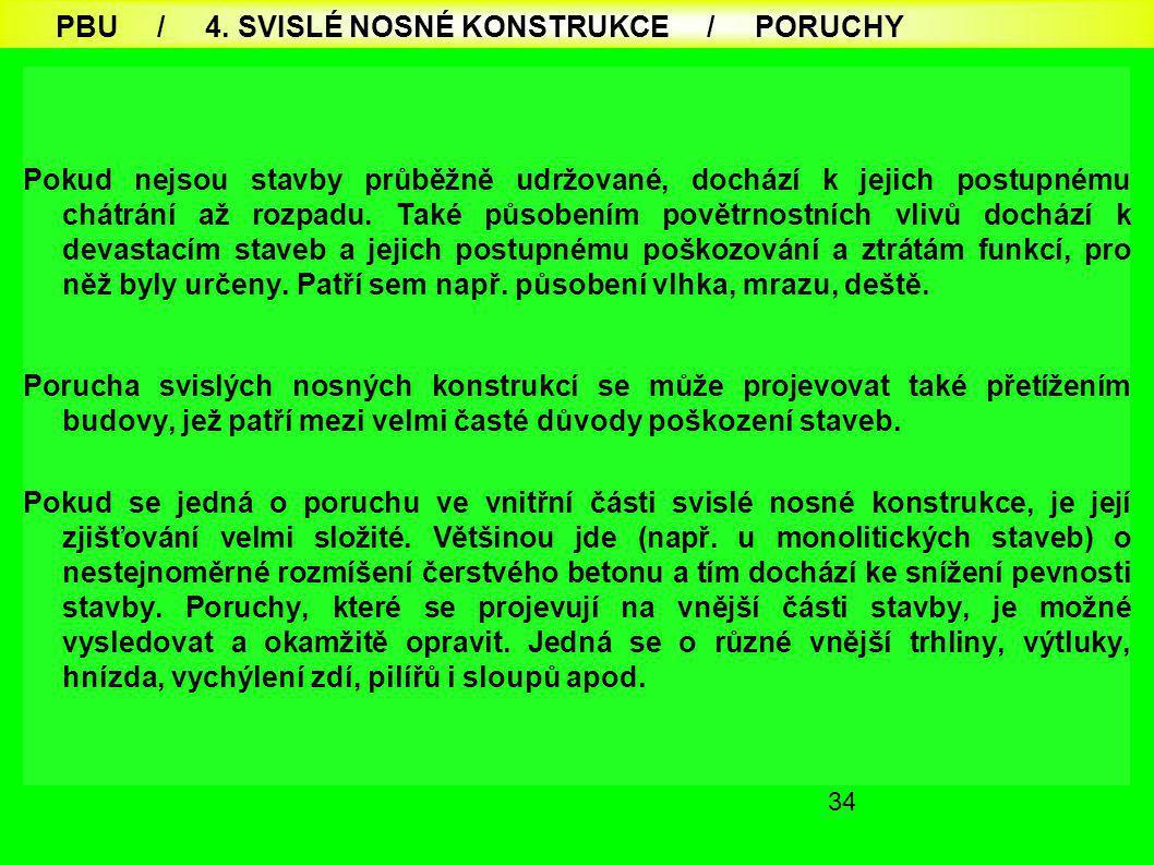 PBU / 4. SVISLÉ NOSNÉ KONSTRUKCE / PORUCHY