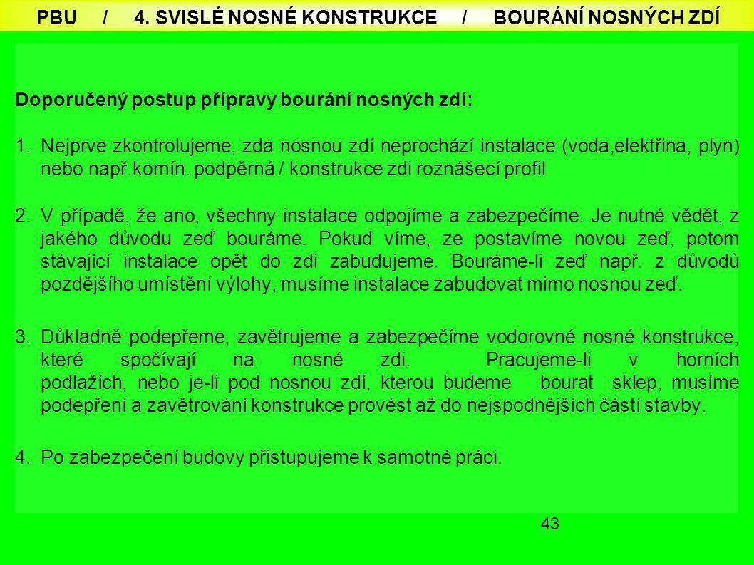 PBU / 4. SVISLÉ NOSNÉ KONSTRUKCE / BOURÁNÍ NOSNÝCH ZDÍ