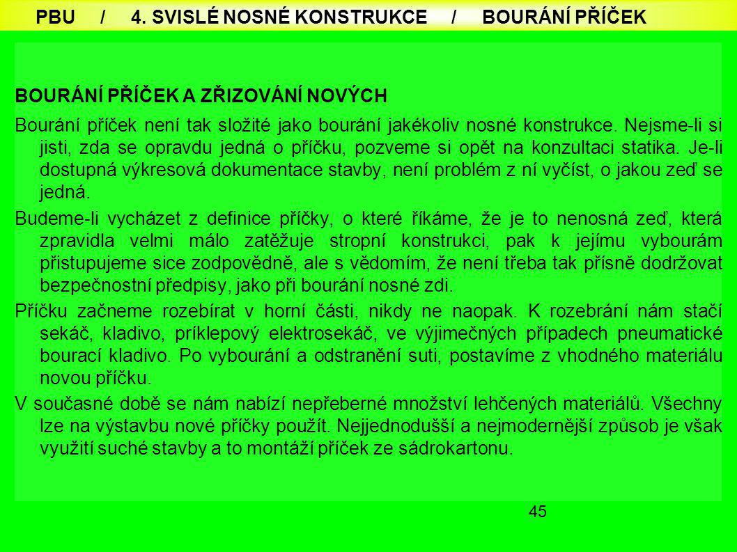 PBU / 4. SVISLÉ NOSNÉ KONSTRUKCE / BOURÁNÍ PŘÍČEK