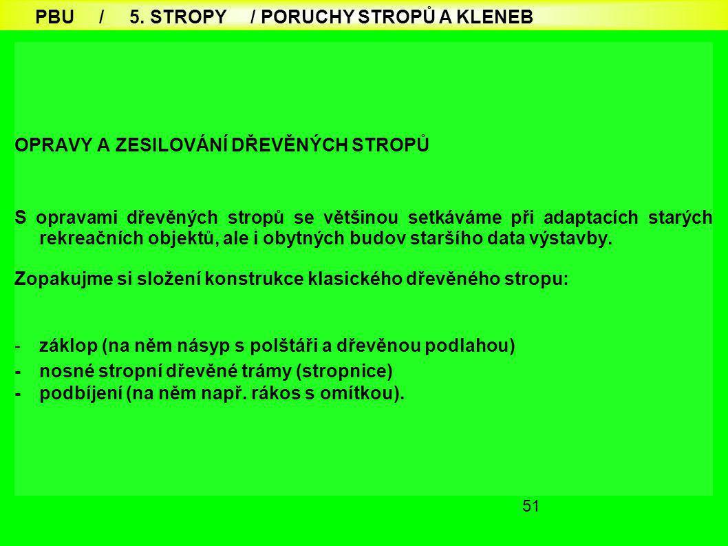 PBU / 5. STROPY / PORUCHY STROPŮ A KLENEB