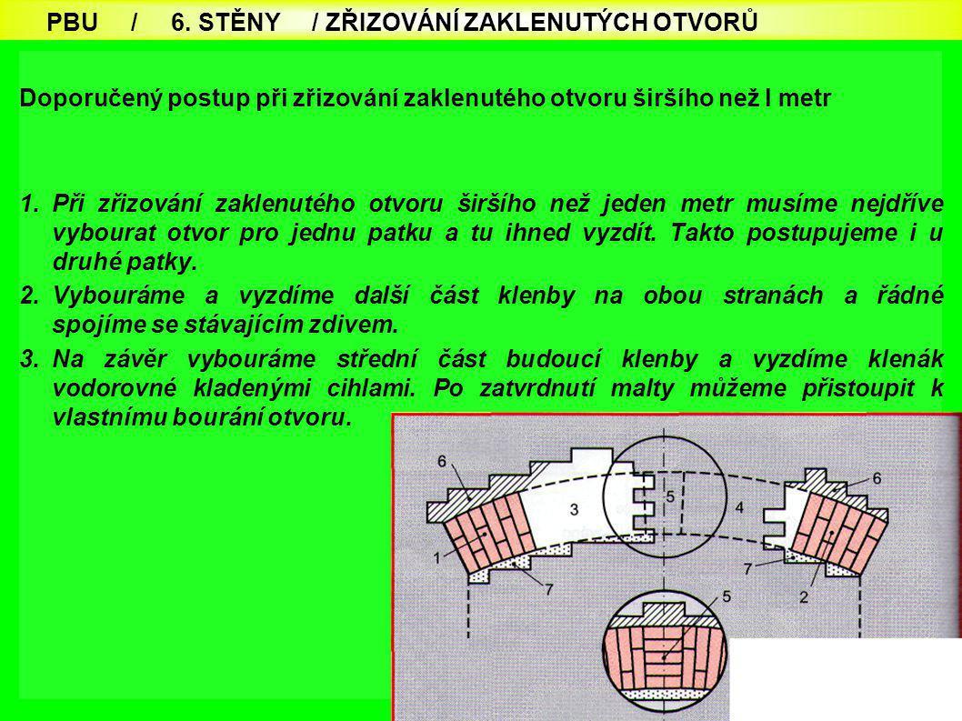 PBU / 6. STĚNY / ZŘIZOVÁNÍ ZAKLENUTÝCH OTVORŮ