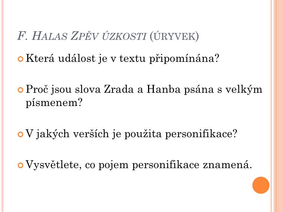 F. Halas Zpěv úzkosti (úryvek)