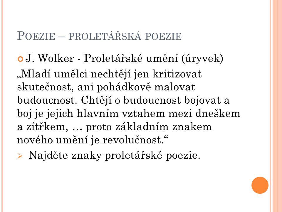 Poezie – proletářská poezie