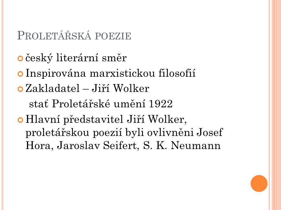 Proletářská poezie český literární směr