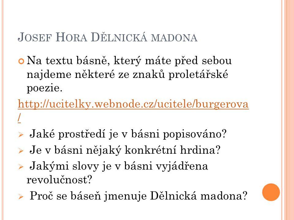 Josef Hora Dělnická madona