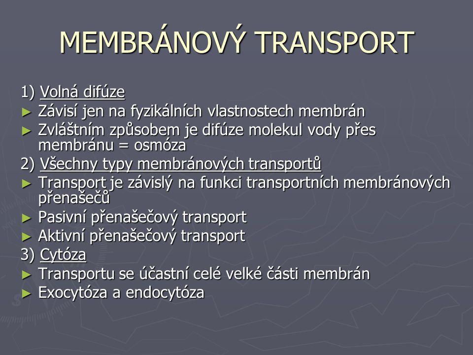 MEMBRÁNOVÝ TRANSPORT 1) Volná difúze