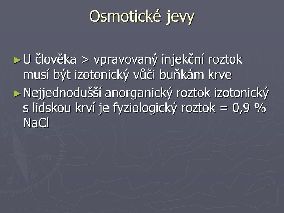 Osmotické jevy U člověka > vpravovaný injekční roztok musí být izotonický vůči buňkám krve.