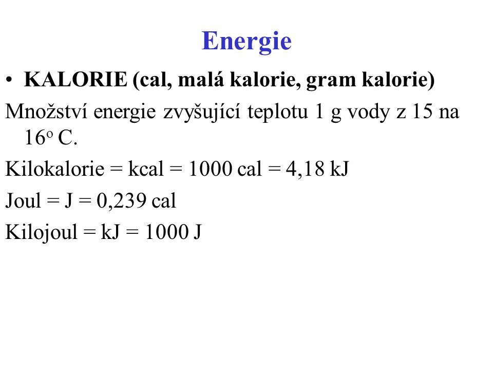 Energie KALORIE (cal, malá kalorie, gram kalorie)