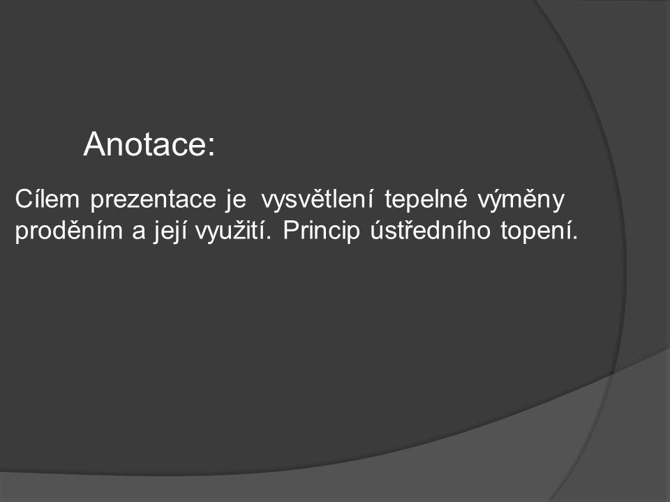 Anotace: Cílem prezentace je vysvětlení tepelné výměny proděním a její využití.