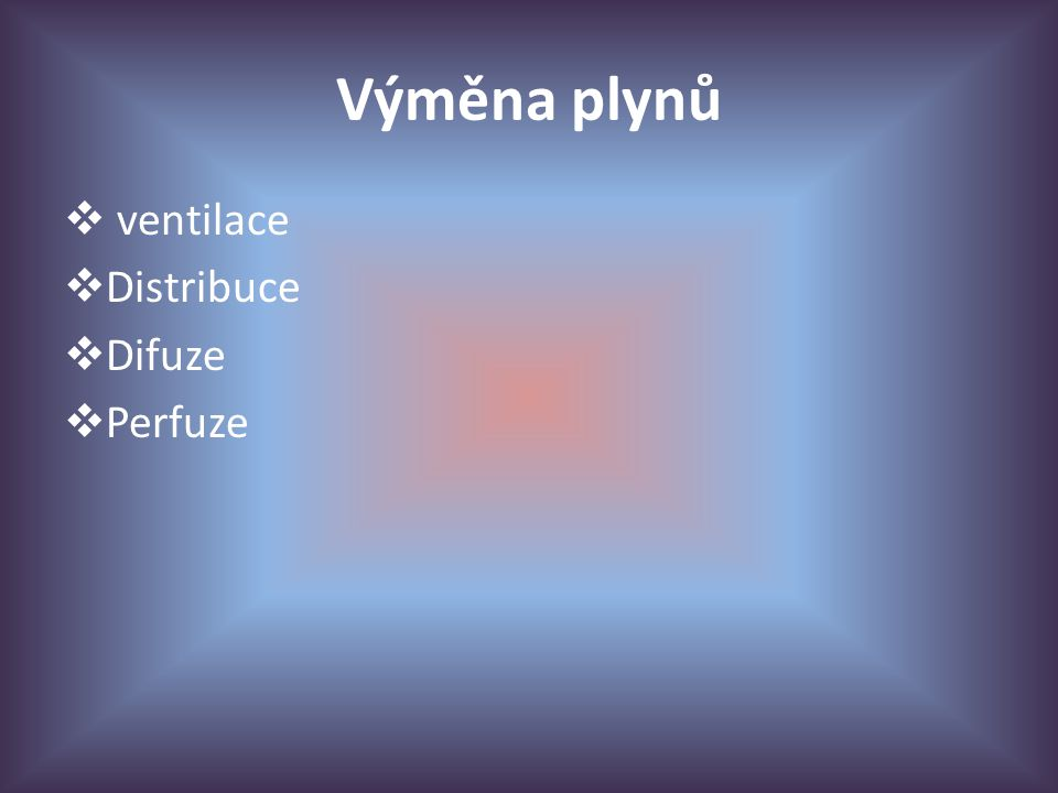 Výměna plynů ventilace Distribuce Difuze Perfuze