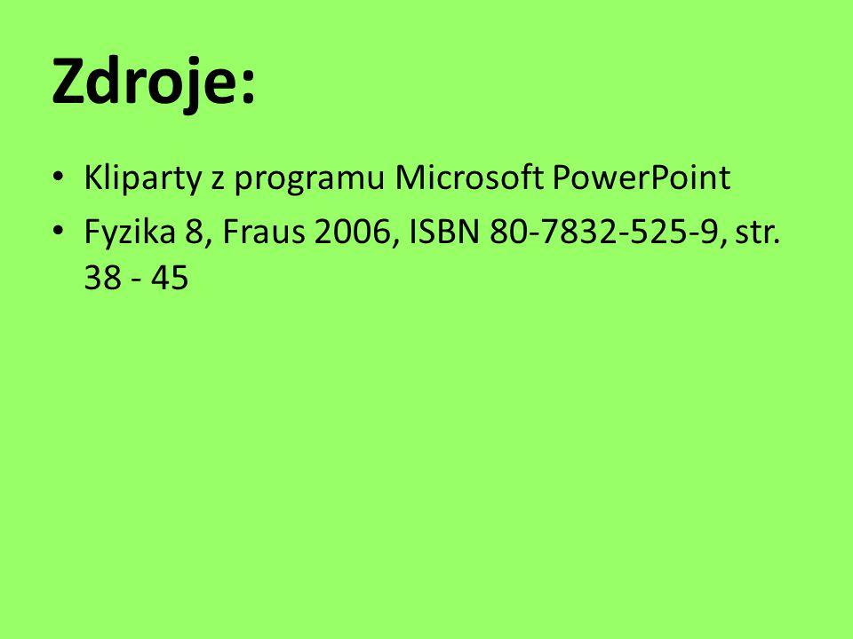 Zdroje: Kliparty z programu Microsoft PowerPoint