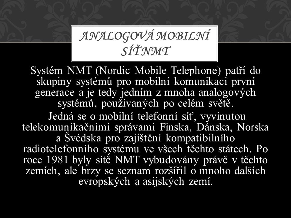 Analogová mobilní síť NMT