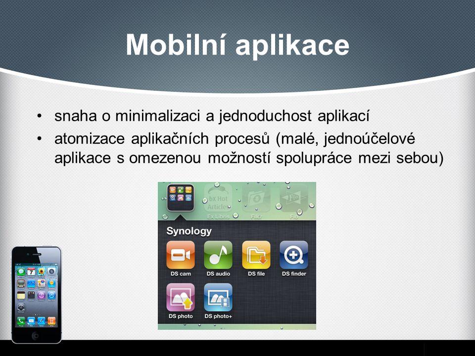 Mobilní aplikace snaha o minimalizaci a jednoduchost aplikací