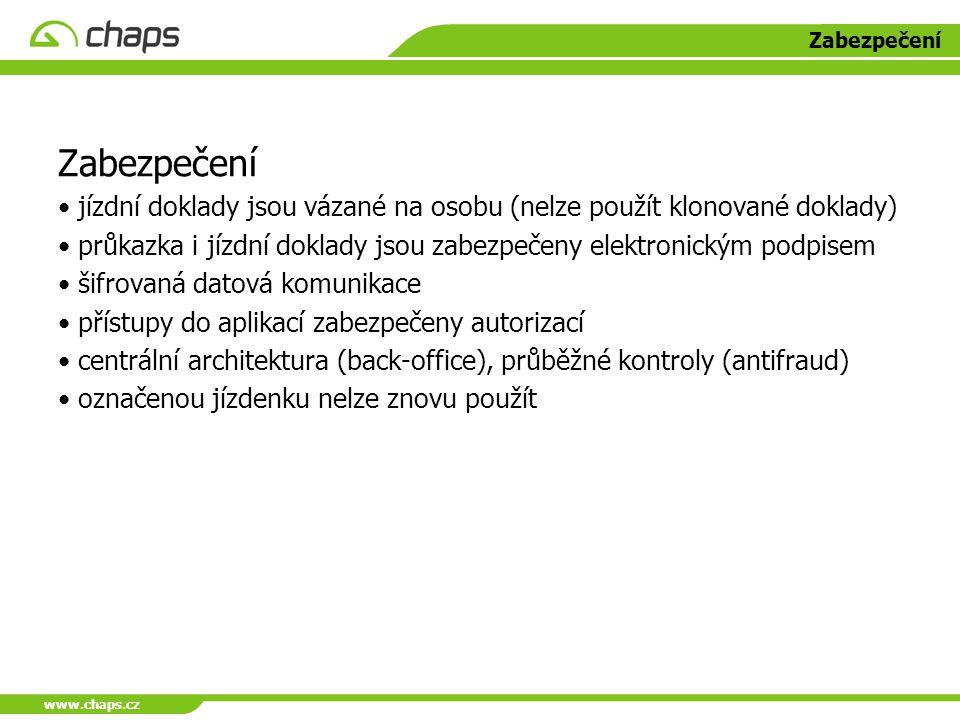 www.chaps.cz Zabezpečení. Zabezpečení. jízdní doklady jsou vázané na osobu (nelze použít klonované doklady)