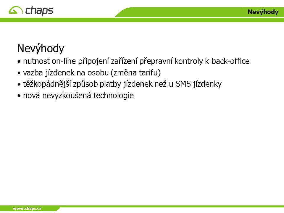 www.chaps.cz Nevýhody. Nevýhody. nutnost on-line připojení zařízení přepravní kontroly k back-office.