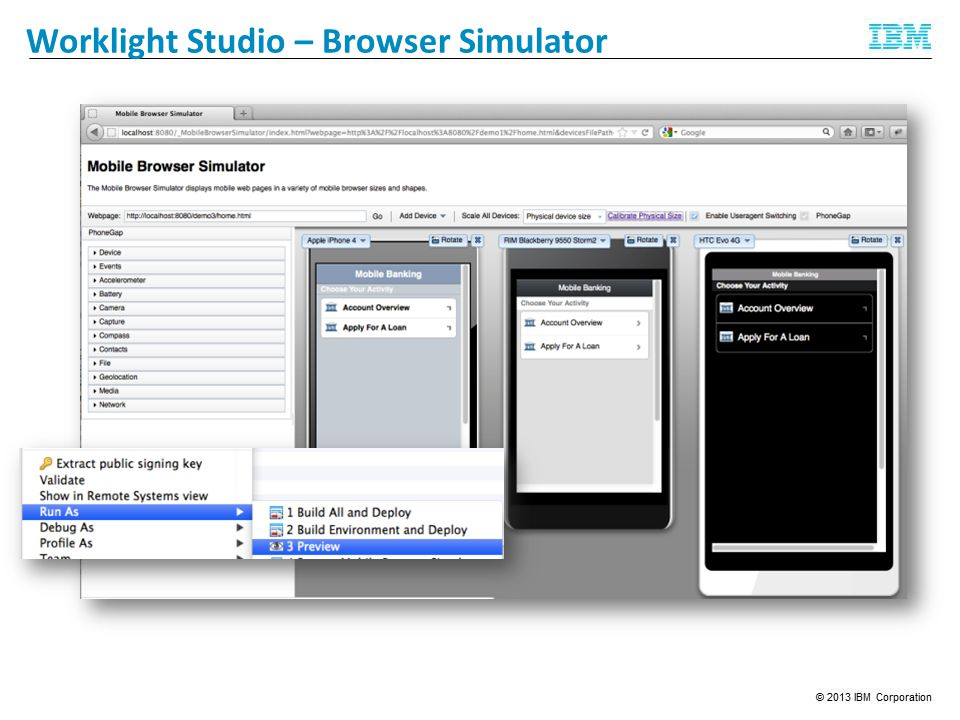 Worklight Studio – Browser Simulator