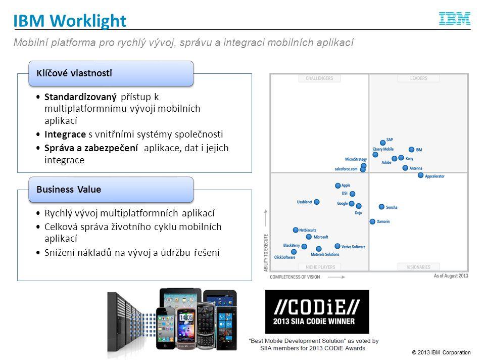 IBM Worklight Mobilní platforma pro rychlý vývoj, správu a integraci mobilních aplikací.