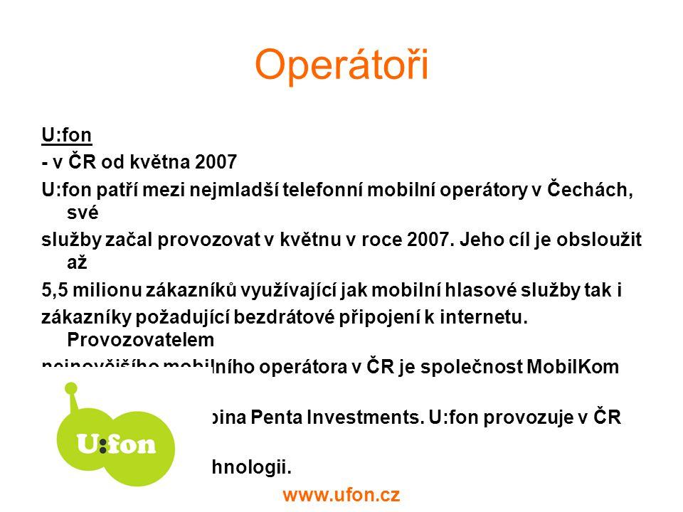 Operátoři U:fon - v ČR od května 2007
