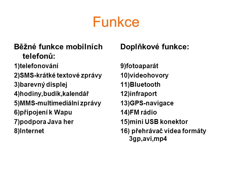 Funkce Běžné funkce mobilních telefonů: Doplňkové funkce: