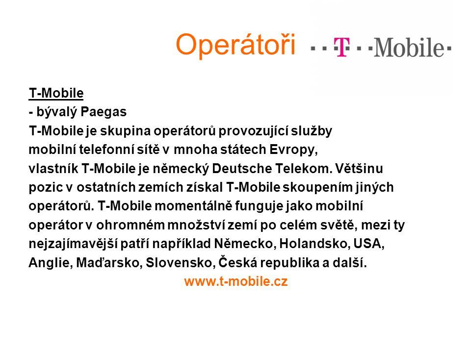 Operátoři T-Mobile - bývalý Paegas