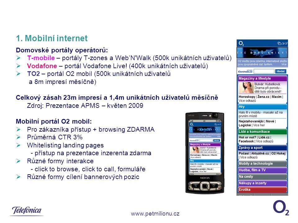 1. Mobilní internet Domovské portály operátorů: