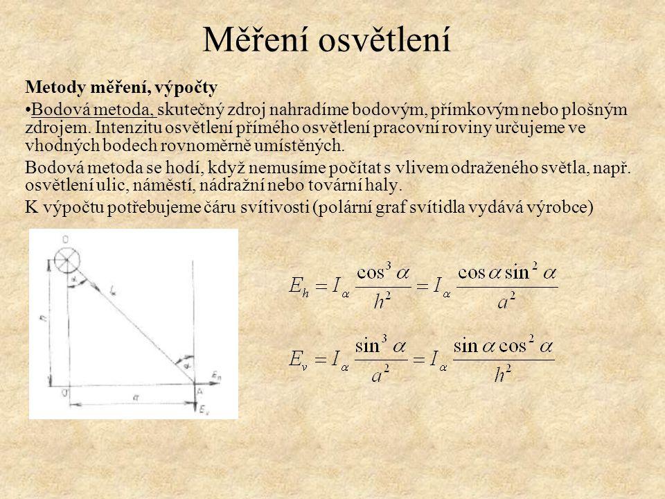 Měření osvětlení Metody měření, výpočty