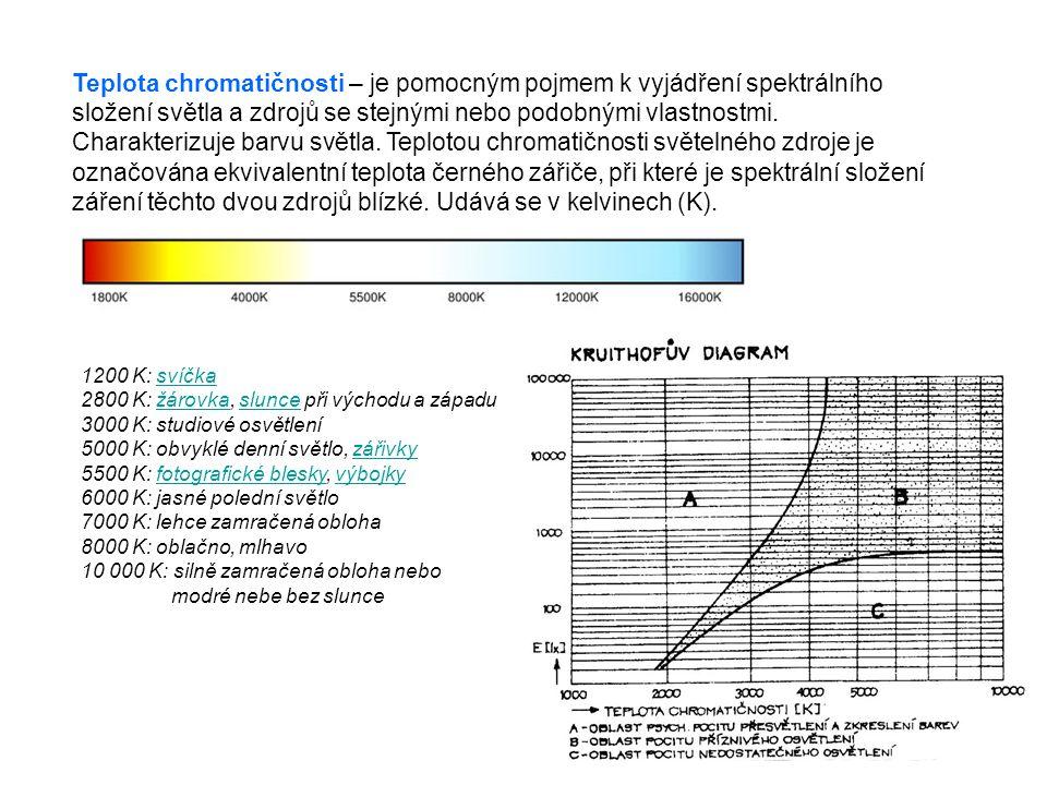 Teplota chromatičnosti – je pomocným pojmem k vyjádření spektrálního složení světla a zdrojů se stejnými nebo podobnými vlastnostmi. Charakterizuje barvu světla. Teplotou chromatičnosti světelného zdroje je označována ekvivalentní teplota černého zářiče, při které je spektrální složení záření těchto dvou zdrojů blízké. Udává se v kelvinech (K).