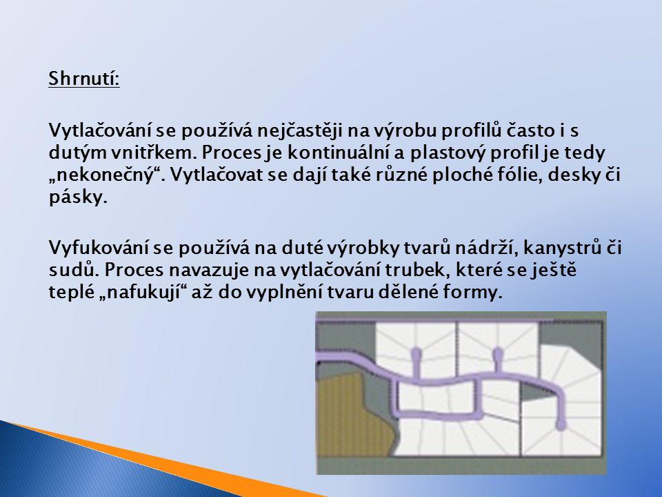 Shrnutí: Vytlačování se používá nejčastěji na výrobu profilů často i s dutým vnitřkem.