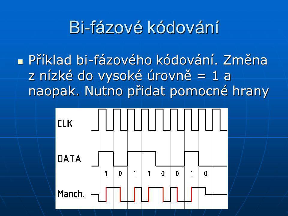 Bi-fázové kódování Příklad bi-fázového kódování. Změna z nízké do vysoké úrovně = 1 a naopak.