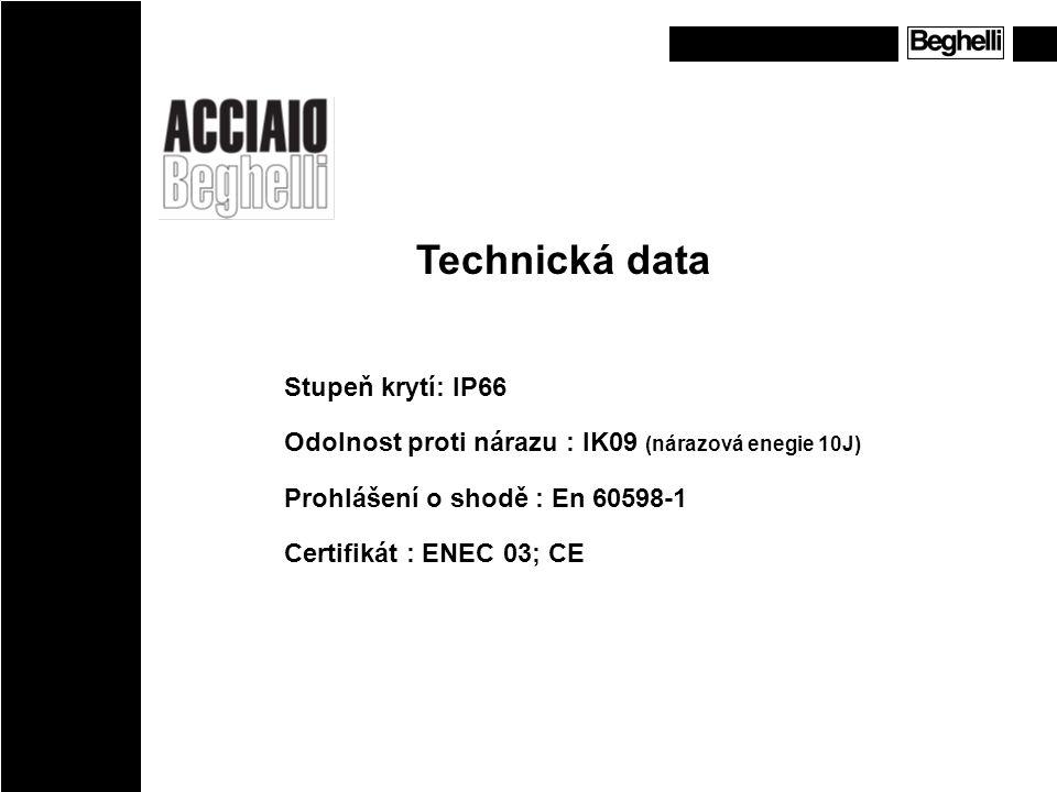 Technická data Stupeň krytí: IP66