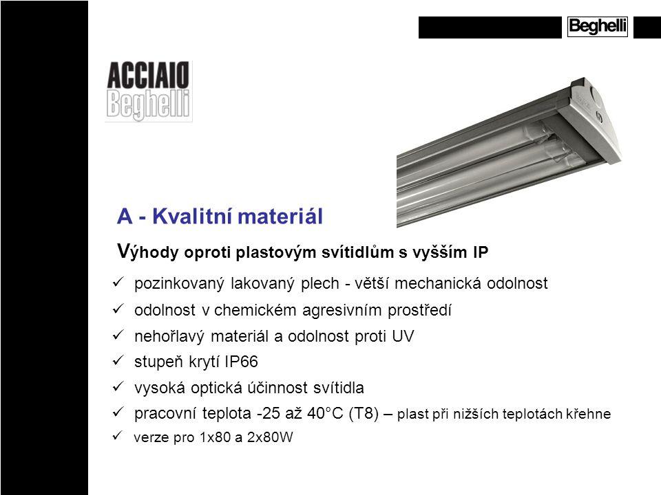 A - Kvalitní materiál Výhody oproti plastovým svítidlům s vyšším IP