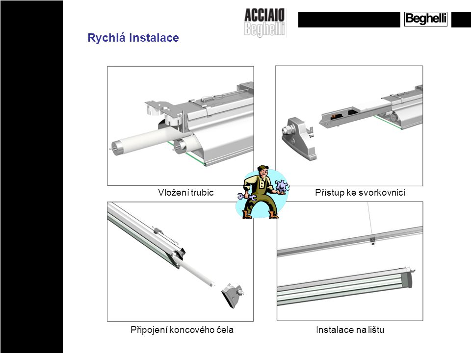Rychlá instalace Vložení trubic Přístup ke svorkovnici