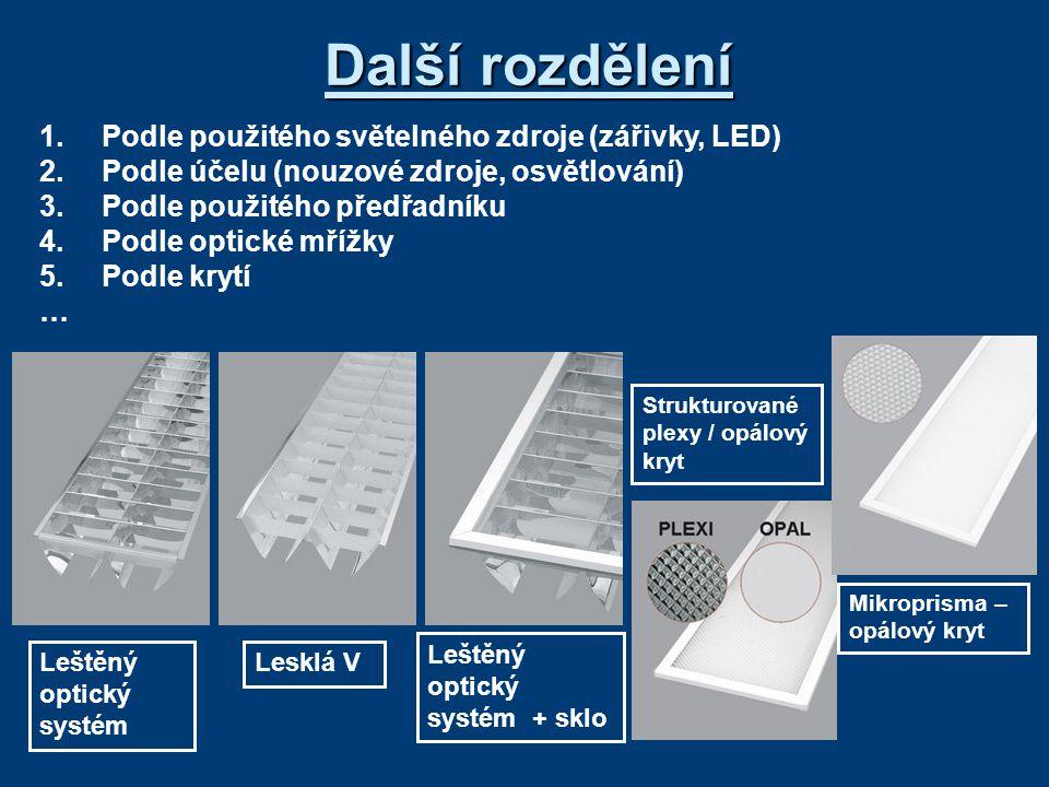 Další rozdělení 1. Podle použitého světelného zdroje (zářivky, LED)