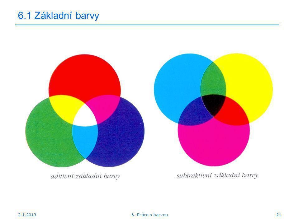 6.1 Základní barvy 3.1.2013 6. Práce s barvou